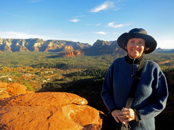 Peggy and view across Sedona