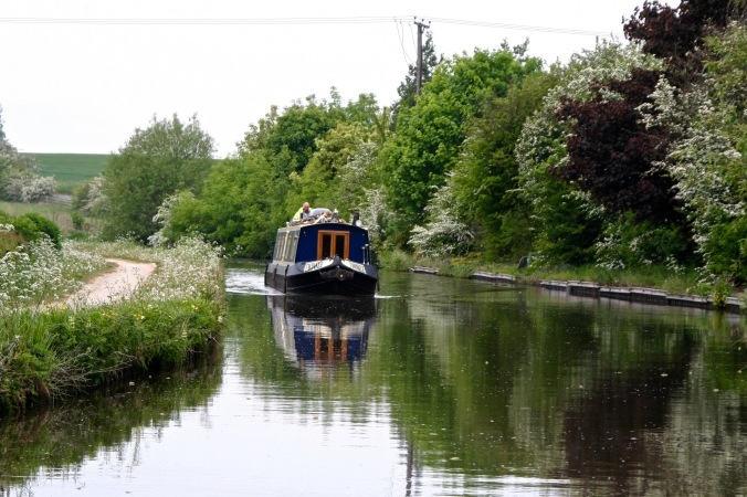 Piloting around boat on Trent and Mercy Canal