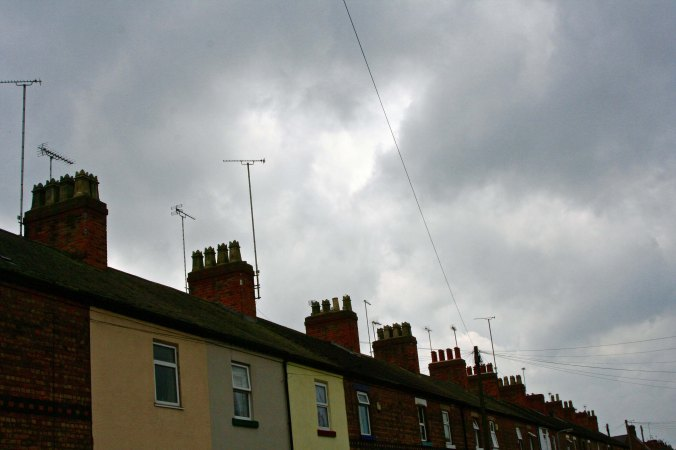 Row houses and chimneys in Burton upon the Trent