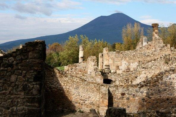 Ruins at Pompeii and Mt. Vesuvius