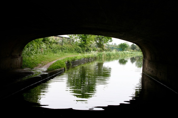 Scenic view from under bridge on Trent and Mercy Canal