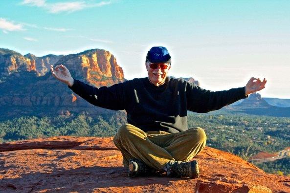 Sitting on a vortex in Sedona, Arizona