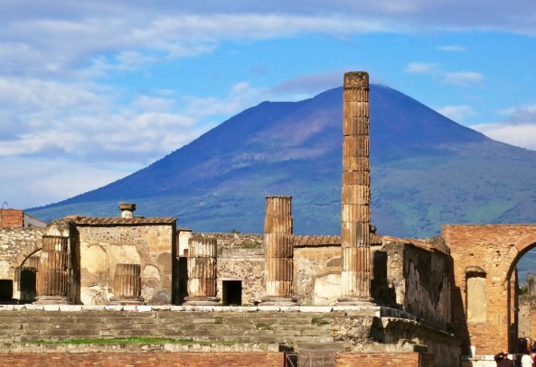 Temple of Jupiter and Mt. Vesuvius