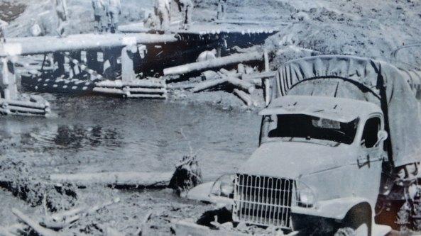 Building log bridge on the Alaska Highway