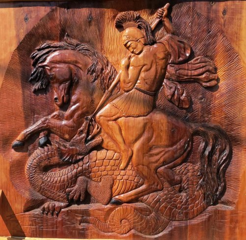 Dragon slayer Chetwynd woodcarving