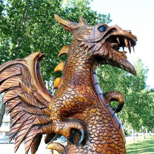 Drangon carving at Chetwyn, BC