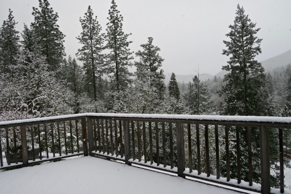 View from Mekemson patio of snow in Southern Oregon.
