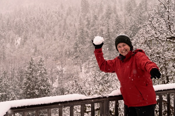 Peggy Mekemson and snowball