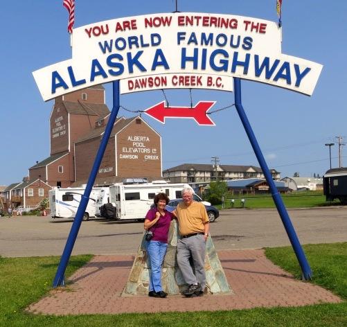 Sign at Beginning of Alaska Highway in Dawson Creek