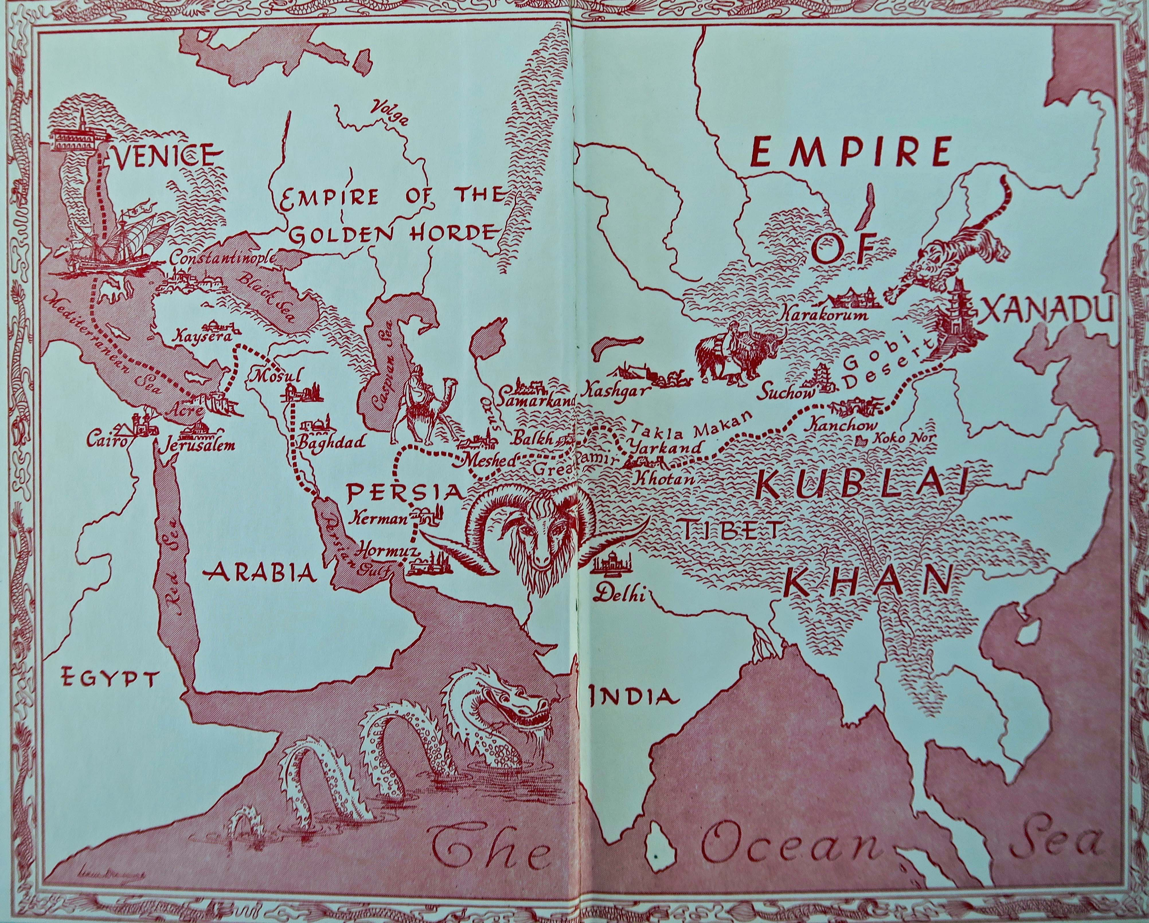 Map from Edison Marshall's book Caravan to Exanadu