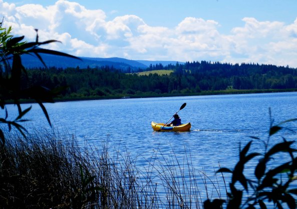 Peggy kayaking on Dragon Lake, Quesnel, BC