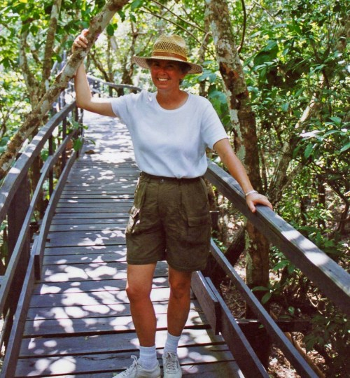 Peggy Mekemson on jungle walkway