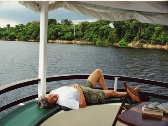 Peggy Mekemson sleeping on Amazon River boat.