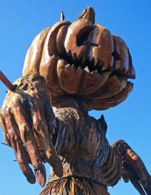 Pumpkin scarecrow wood carving at Chetwynd