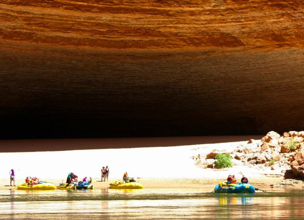 Redwall Cavern on Colorado River with rafters