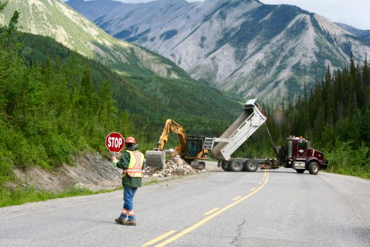 Road construction, Alaska Highway, BC