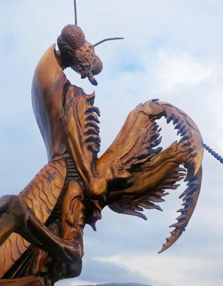 Wood carving of Praying Mantis at Chetwyn, BC