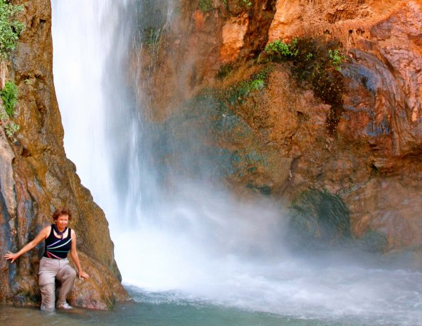 Peggy Mekemson at Deer Creek Falls in Grand Canyon