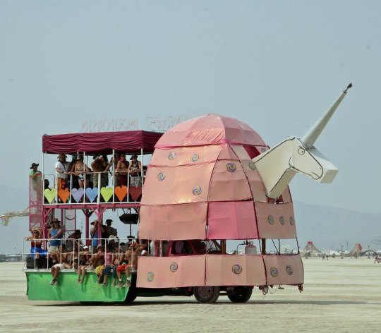 Large mutant vehicle unicorn at Burning Man.