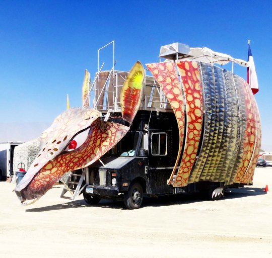 An armadillo mutant vehicle at Burning Man.