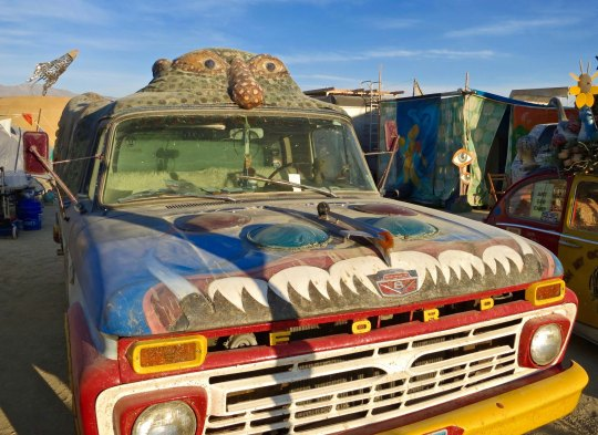 Art car featuring Kilroy at Burning Man.