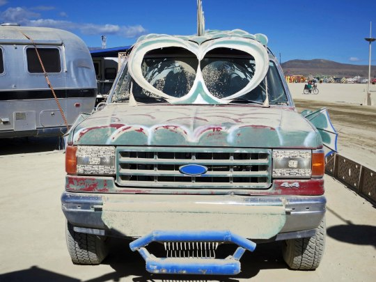 Art car with glasses at Burning Man.