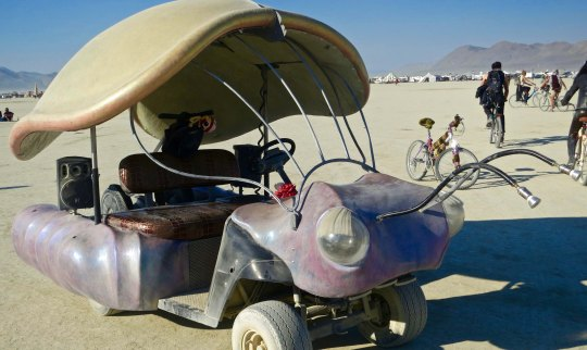 Beetle mutant vehicle at Burning Man with shell.