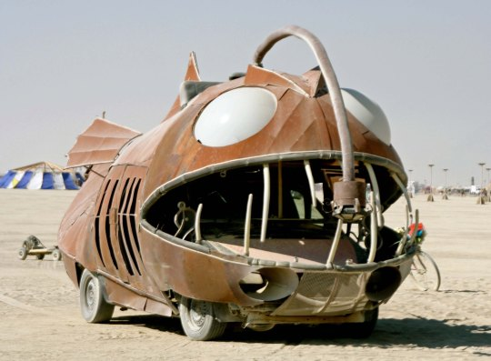 Brown fish mutant vehicle at Burning Man.