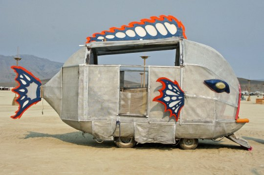A guppy mutant vehicle at Burning Man.