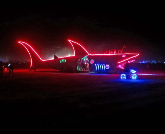 Shark mutant vehicle at Burning Man.