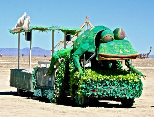 Cockeyed frog mutant vehicle at Burning Man.