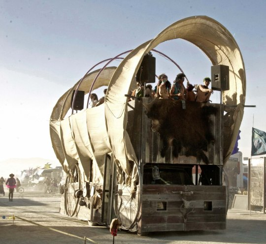 Conestoga Mutant Vehicle Wagon at Burning Man.