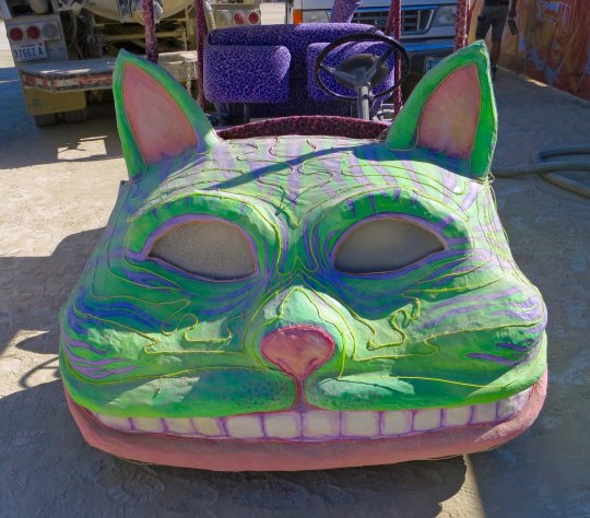 Green cat mutant vehicle at Burning Man.