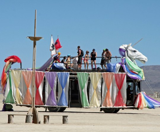 Elegant unicorn Mutant vehicle at Burning Man.