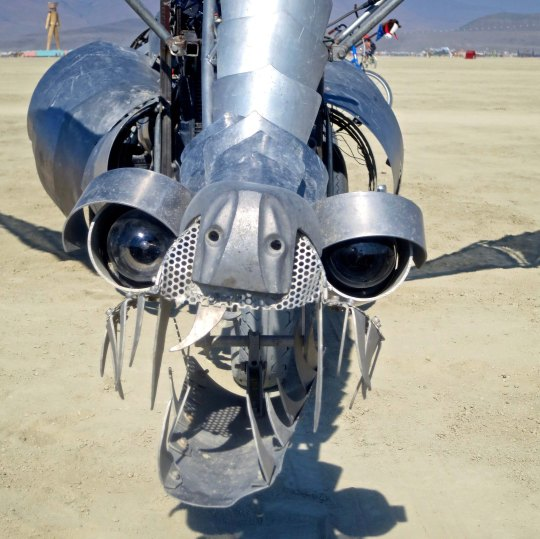 Silver dragon mutant vehicle at Burning Man.