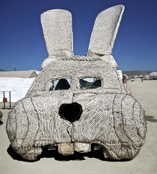 Buck teeth rabbit mutant vehicle at Burning Man.