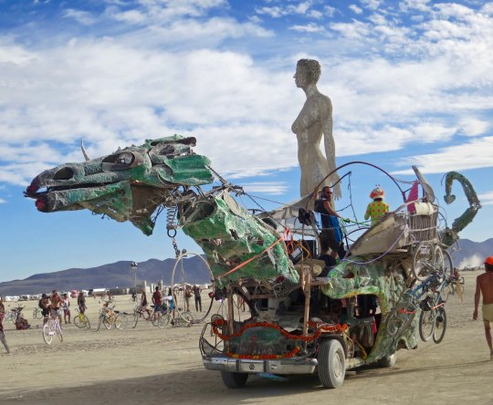 Burning Man green dragon mutant vehicle.