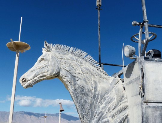 Close up of mutant vehicle horsecart at Burning Man.