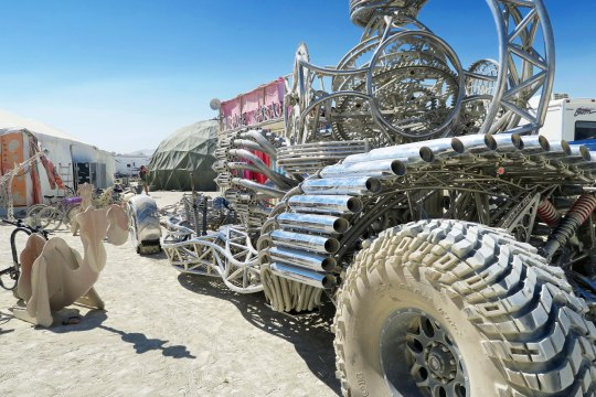 Side view if mutant vehicle hot rod at Burning Man.