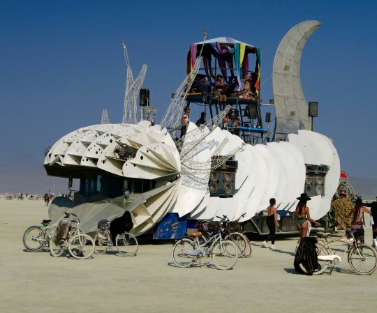 Large white cat mutant vehicle at Burning Man.