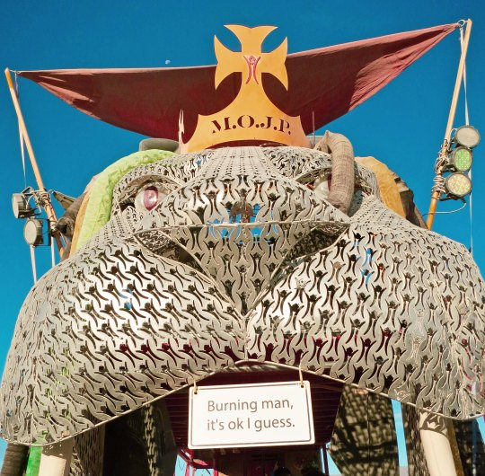 Head of large mutant lion at Burning Man.
