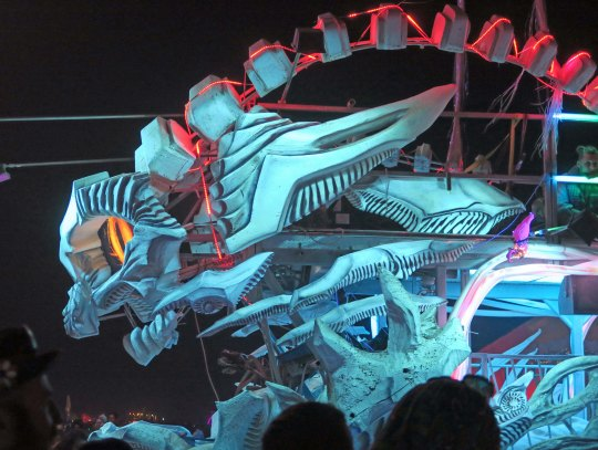 Impressive blue-green dragon mutant vehicle at Burning Man.