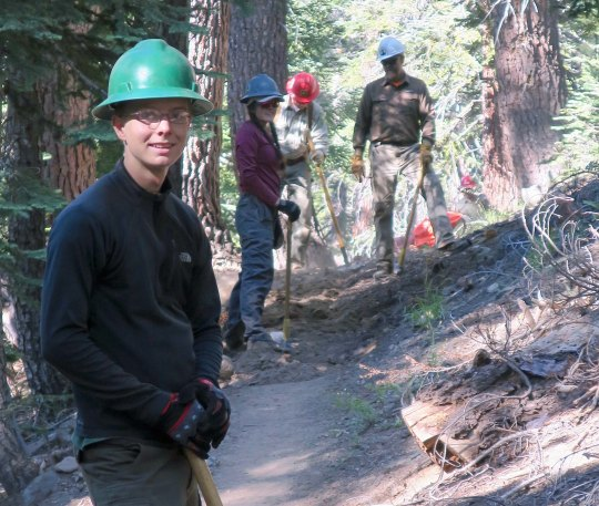 PCT Association volunteers working on the trail in the Carson-Iceberg Wilderness.