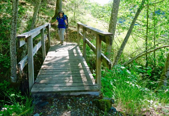Crossing over a creek on the Rogue River Trail.