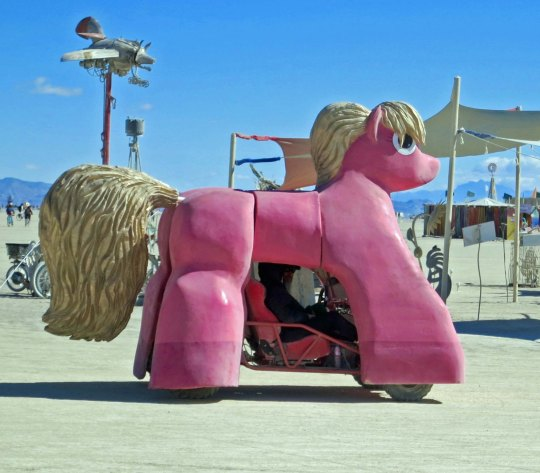 Pink pony mutant vehicle at Burning Man.