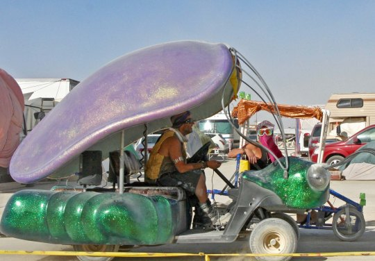 Bug mutant vehicle at Burning Man with a shell.