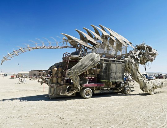 Very scary mutant vehicle dragon at Burning Man.