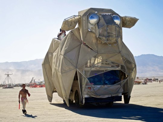 Large sheep mutant vehicle at Burning Man.