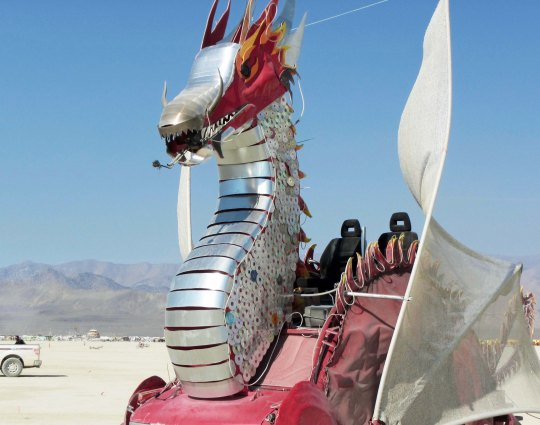Head of silver and red dragon at Burning Man.