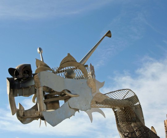 Dragon sculpture on the Playa at Burning Man.